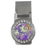 Sea Shell Spiral, Abstract Violet Cyan Stars Money Clip (CZ)