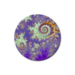 Sea Shell Spiral, Abstract Violet Cyan Stars Drink Coaster (Round)