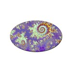 Sea Shell Spiral, Abstract Violet Cyan Stars Sticker (Oval)