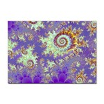 Sea Shell Spiral, Abstract Violet Cyan Stars A4 Sticker