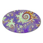 Sea Shell Spiral, Abstract Violet Cyan Stars Magnet (Oval)