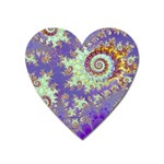 Sea Shell Spiral, Abstract Violet Cyan Stars Magnet (Heart)