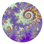 Sea Shell Spiral, Abstract Violet Cyan Stars Magnet 5  (Round)