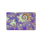 Sea Shell Spiral, Abstract Violet Cyan Stars Magnet (Name Card)