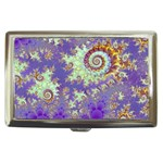 Sea Shell Spiral, Abstract Violet Cyan Stars Cigarette Money Case