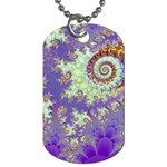 Sea Shell Spiral, Abstract Violet Cyan Stars Dog Tag (Two-sided)