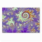 Sea Shell Spiral, Abstract Violet Cyan Stars Postcard 5  x 7