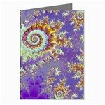Sea Shell Spiral, Abstract Violet Cyan Stars Greeting Card