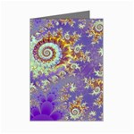 Sea Shell Spiral, Abstract Violet Cyan Stars Mini Greeting Card