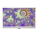 Sea Shell Spiral, Abstract Violet Cyan Stars Business Card Holder