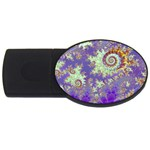 Sea Shell Spiral, Abstract Violet Cyan Stars 2GB USB Flash Drive (Oval)