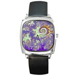 Sea Shell Spiral, Abstract Violet Cyan Stars Square Leather Watch