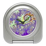 Sea Shell Spiral, Abstract Violet Cyan Stars Desk Alarm Clock