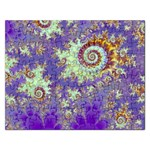 Sea Shell Spiral, Abstract Violet Cyan Stars Jigsaw Puzzle (Rectangle)