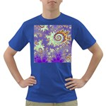Sea Shell Spiral, Abstract Violet Cyan Stars Men s T-shirt (Colored)