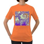 Sea Shell Spiral, Abstract Violet Cyan Stars Women s T-shirt (Colored)