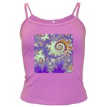 Sea Shell Spiral, Abstract Violet Cyan Stars Spaghetti Top (Colored)