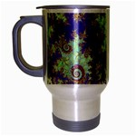 Sea Shell Spiral, Abstract Violet Cyan Stars Travel Mug (Silver Gray)
