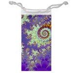 Sea Shell Spiral, Abstract Violet Cyan Stars Jewelry Bag