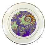 Sea Shell Spiral, Abstract Violet Cyan Stars Porcelain Display Plate