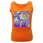 Sea Shell Spiral, Abstract Violet Cyan Stars Women s Tank Top (Dark Colored)