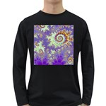 Sea Shell Spiral, Abstract Violet Cyan Stars Men s Long Sleeve T-shirt (Dark Colored)