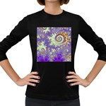 Sea Shell Spiral, Abstract Violet Cyan Stars Women s Long Sleeve T-shirt (Dark Colored)
