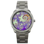 Sea Shell Spiral, Abstract Violet Cyan Stars Sport Metal Watch