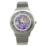 Sea Shell Spiral, Abstract Violet Cyan Stars Stainless Steel Watch (Slim)