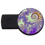 Sea Shell Spiral, Abstract Violet Cyan Stars 4GB USB Flash Drive (Round)