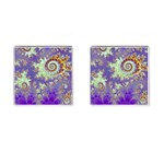 Sea Shell Spiral, Abstract Violet Cyan Stars Cufflinks (Square)