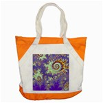 Sea Shell Spiral, Abstract Violet Cyan Stars Accent Tote Bag