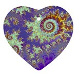 Sea Shell Spiral, Abstract Violet Cyan Stars Heart Ornament (Two Sides)