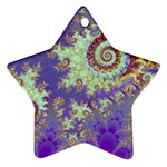 Sea Shell Spiral, Abstract Violet Cyan Stars Star Ornament (Two Sides)