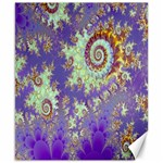 Sea Shell Spiral, Abstract Violet Cyan Stars Canvas 8  x 10  (Unframed)