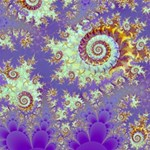 Sea Shell Spiral, Abstract Violet Cyan Stars Canvas 12  x 12  (Unframed)