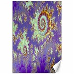 Sea Shell Spiral, Abstract Violet Cyan Stars Canvas 12  x 18  (Unframed)