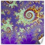 Sea Shell Spiral, Abstract Violet Cyan Stars Canvas 16  x 16  (Unframed)