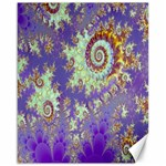 Sea Shell Spiral, Abstract Violet Cyan Stars Canvas 16  x 20  (Unframed)