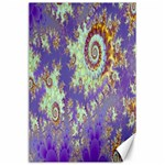 Sea Shell Spiral, Abstract Violet Cyan Stars Canvas 24  x 36  (Unframed)