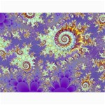 Sea Shell Spiral, Abstract Violet Cyan Stars Canvas 36  x 48  (Unframed)