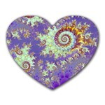 Sea Shell Spiral, Abstract Violet Cyan Stars Mouse Pad (Heart)