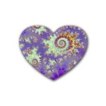 Sea Shell Spiral, Abstract Violet Cyan Stars Drink Coasters (Heart)