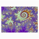Sea Shell Spiral, Abstract Violet Cyan Stars Glasses Cloth (Large, Two Sided)