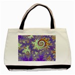 Sea Shell Spiral, Abstract Violet Cyan Stars Twin-sided Black Tote Bag