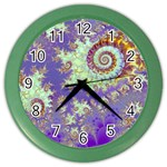 Sea Shell Spiral, Abstract Violet Cyan Stars Wall Clock (Color)