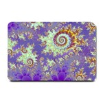 Sea Shell Spiral, Abstract Violet Cyan Stars Small Door Mat