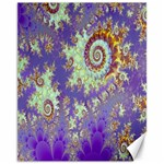 Sea Shell Spiral, Abstract Violet Cyan Stars Canvas 11  x 14  (Unframed)