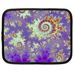 Sea Shell Spiral, Abstract Violet Cyan Stars Netbook Sleeve (Large)