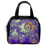 Sea Shell Spiral, Abstract Violet Cyan Stars Classic Handbag (One Side)